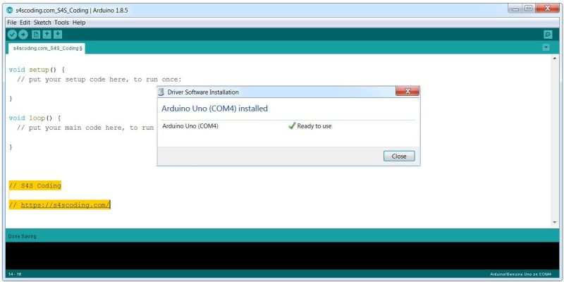 Arduino Driver Software Installed Successfully on COM4