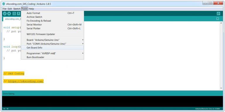 Arduino IDE Get Board Information