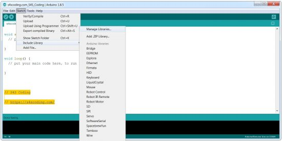 Arduino IDE Manage Libraries