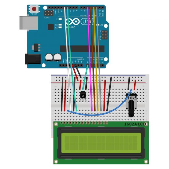 Arduino Uno Thermometer Project with LM35 Sensor and LCD Display