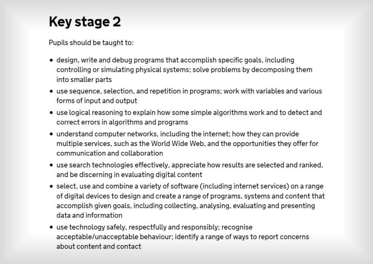 Junior School Coding Curriculum Key Stage 2