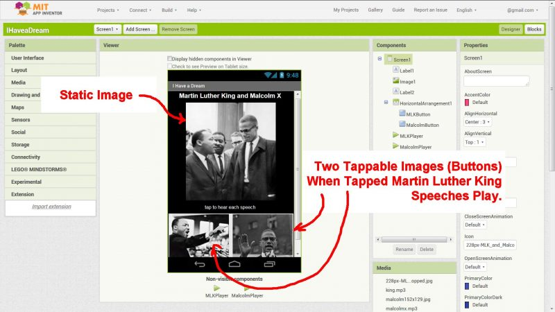 MIT App Inventor 2 I Have A Dream Android App
