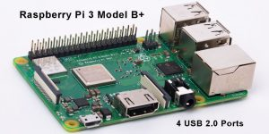 Raspberry Pi 3 Model B+ 4 USB 2.0 Ports
