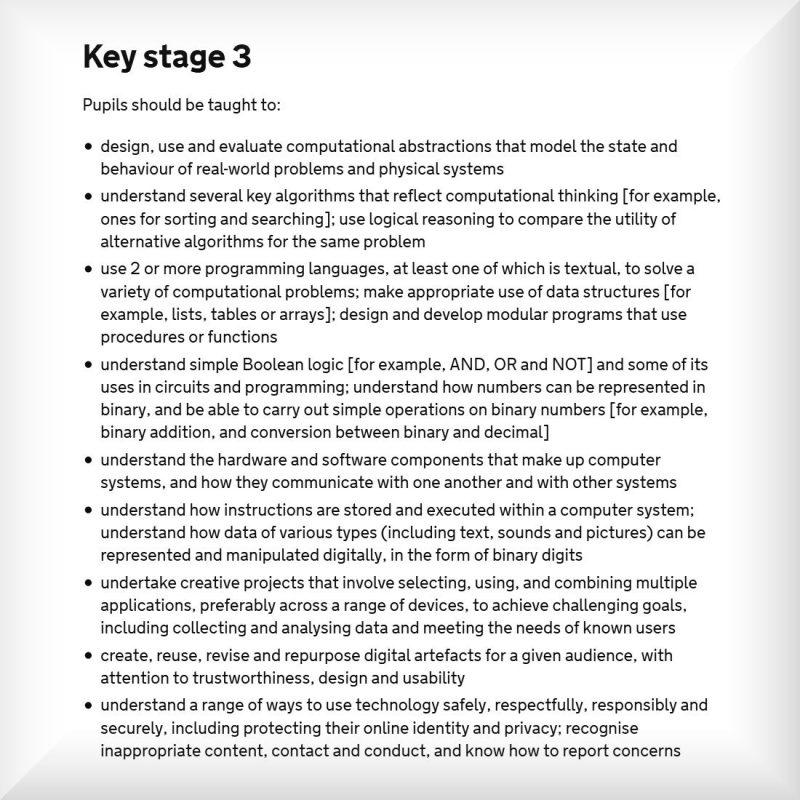 Secondary School Coding Curriculum Key Stage 3